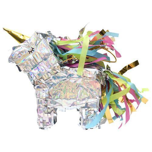 Mini Unicorn Piñata, Shiny Silver available at Shop Sweet Lulu