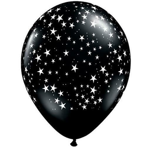 "11"" Latex Balloon, Black with White Stars"