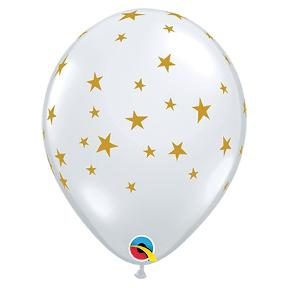 "11"" Latex Balloon, Clear with Gold Stars"