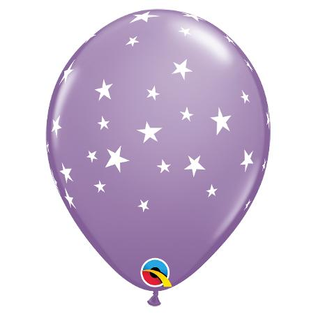 "11"" Latex Balloon, Lilac with Stars"