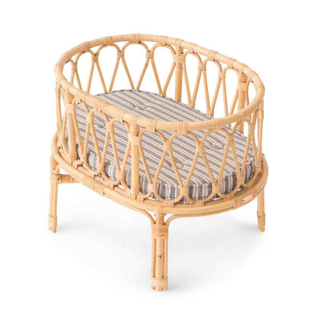 Poppie Rattan Doll Crib, Linen Stripe (not available for free shipping)
