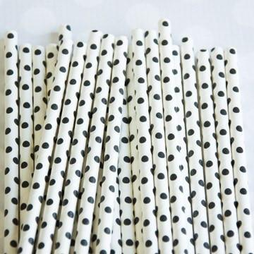 Paper Straws: Black Swiss Dot