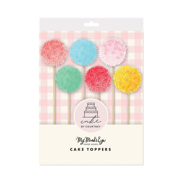 Pom Pom Cake Toppers, Set of 6