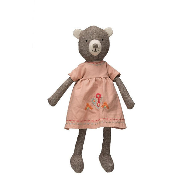 Sweet Fabric Bear in Her Embroidered Dress