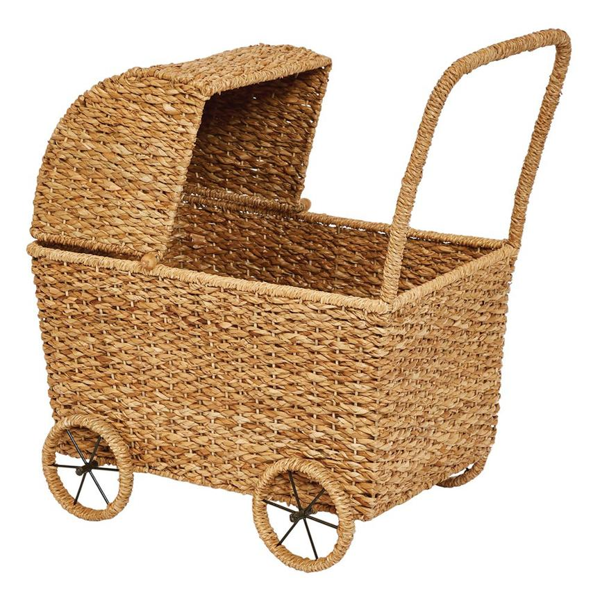 Hand-Woven Seagrass Bassinet Carriage