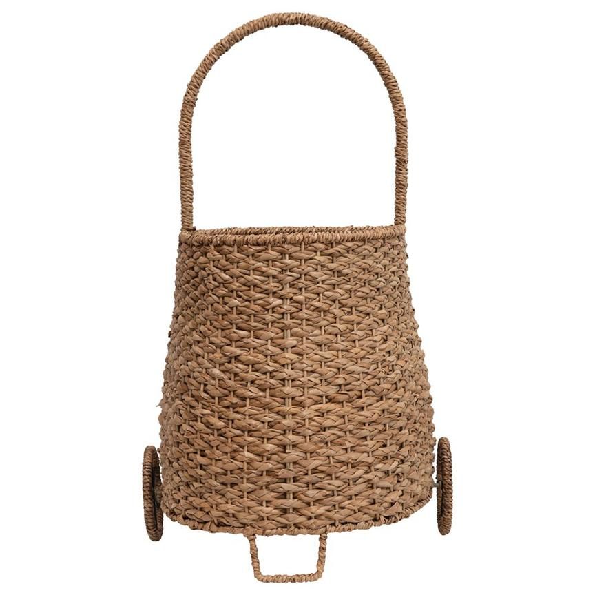 Hand-Woven Seagrass Mini Market Trolley