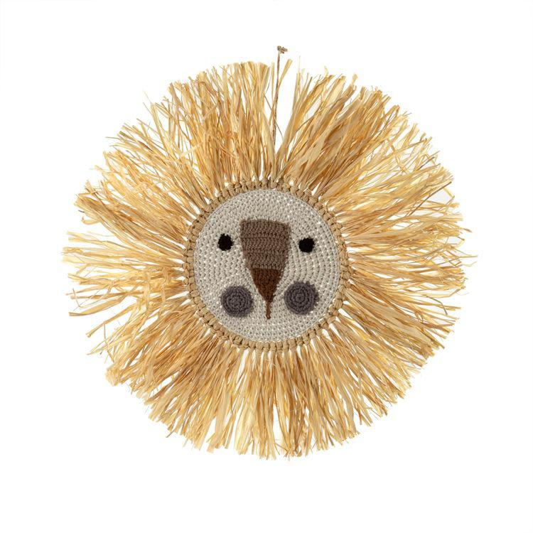 Raffia Lion Wall Art, Natural