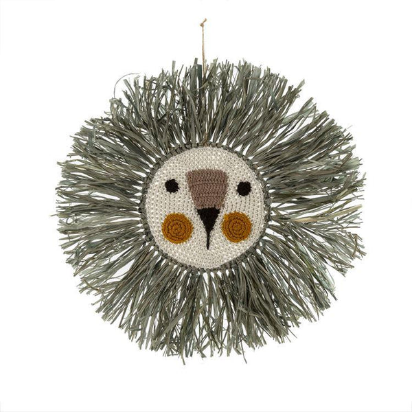 Raffia Lion Wall Art, Grey