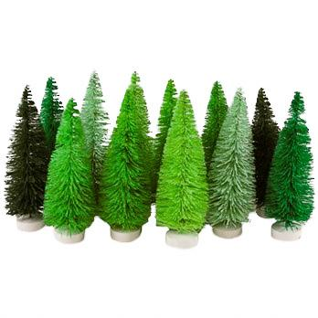Sisal Trees, Set of 12, Green Hues