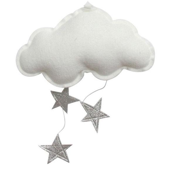 Luxe Wall Hung Star Cloud Mobile:  White and Silver