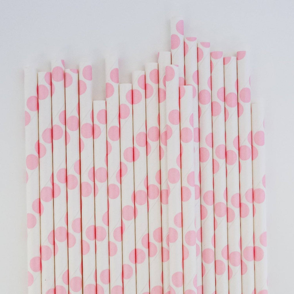 Eco Friendly Paper Straws: Bubblegum Pink Polkadots