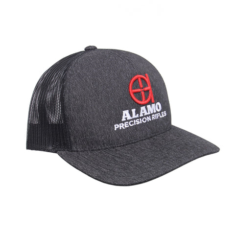 APR Meshback Hat Black Heather with Red Logo