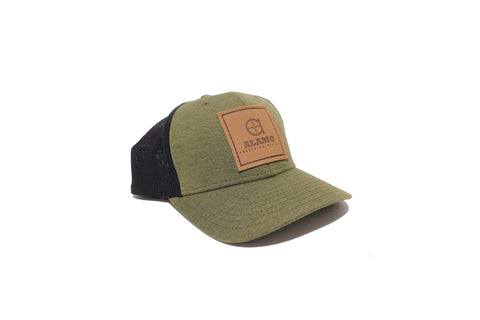 APR Soft Meshback Hat Green and Black w/ leather patch