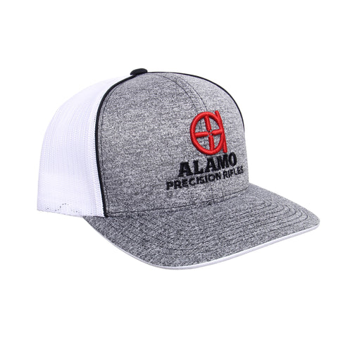 APR Meshback Hat White Heather with Red Logo