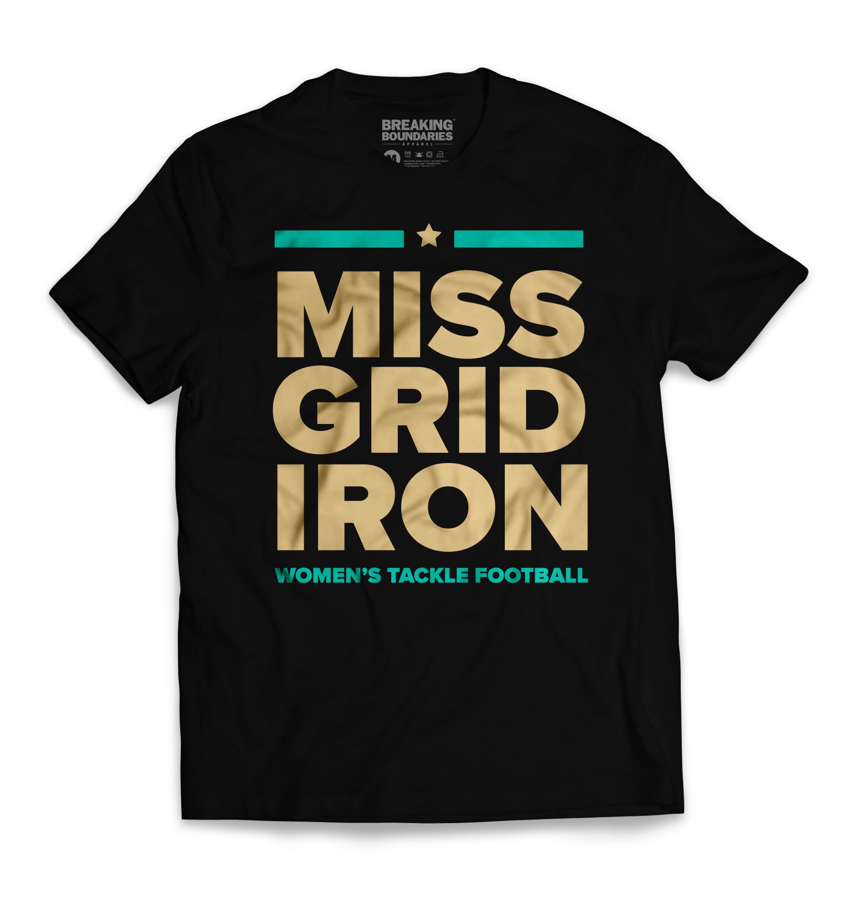 Miss Gridiron Tee - Black/Gold/Teal