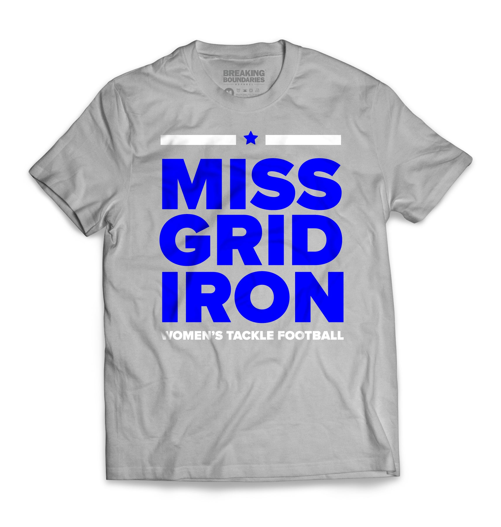 Miss Gridiron Tee - Grey/Blue