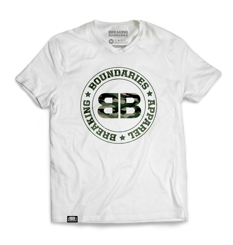 BBA White/Camo V-neck - Breaking Boundaries Apparel  - 1