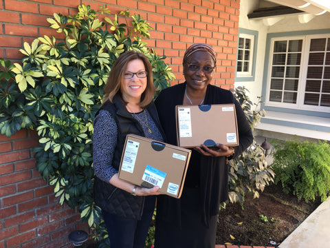 Spoolies, Jeanne James donating computers to Sister Freda's Girls' High School in Kenya