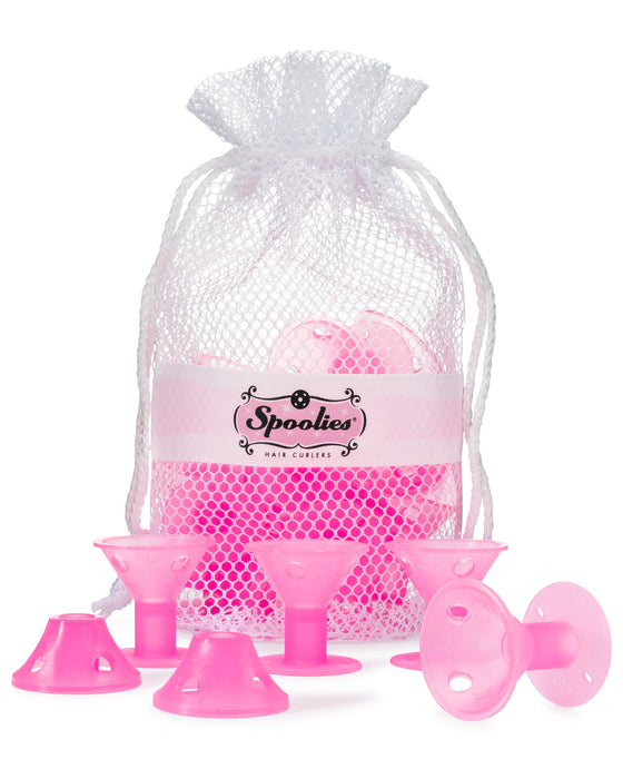 15 pc - Jumbo Spoolies® in Mesh Bag, Playful Pink - Marvelous Mrs. Maisel Retro Styles