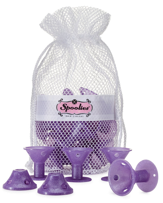 Spoolies Hair Curlers Purple Sparkle Jumbo