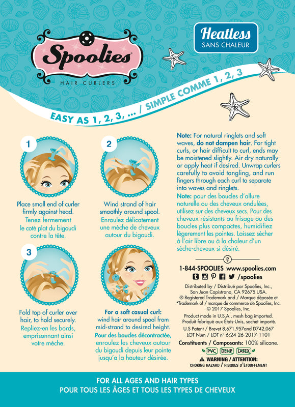 Spoolies Jumbo Blue Hair Curlers Instruction Card - Back