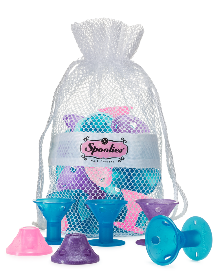 15 pc - Jumbo Spoolies® in Mesh Bag, FairyTale Dreams (+3 curlers)
