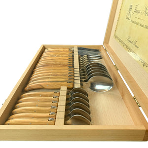 Brown Olive Wood 24 Piece Flatware Set
