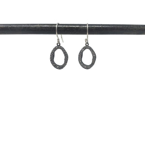 .Silver Oval Earrings with Diamonds