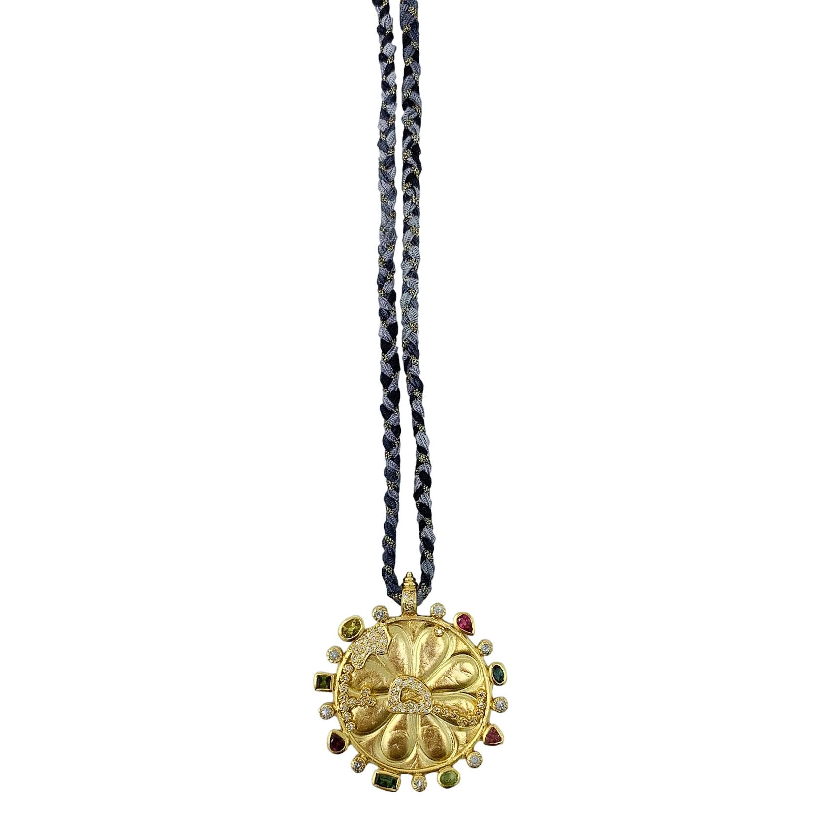 .Gold Medallion + Semi Precious Stone Necklace