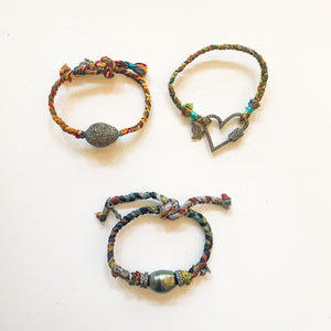 Multi Colored Woven Bracelet with Pave Diamonds