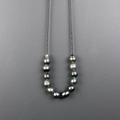 Grey Tahitian Pearls on Braided Leather Necklace
