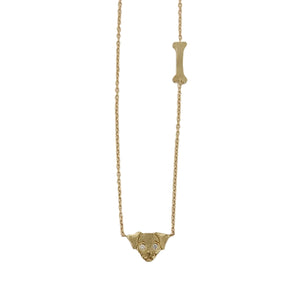 .Gold 14K Dog Necklace with Diamonds