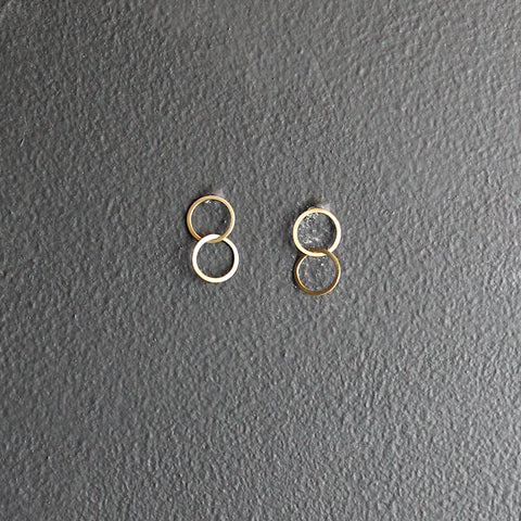 Gold 14K Double Circle Earrings