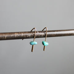 Gold 14K Bar with Turquoise Earrings