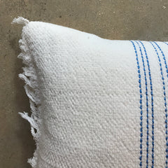 ".White Vintage Textile Pillow - 22"" x 15"""