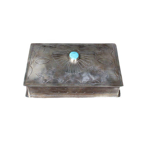 Silver Hand-stamped Rectangle Box with Turquoise