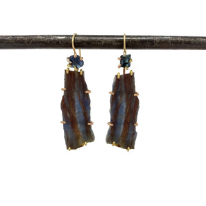.Blue Sapphire Drop Earrings