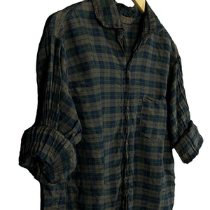 .Brown Plaid Silk Shirt