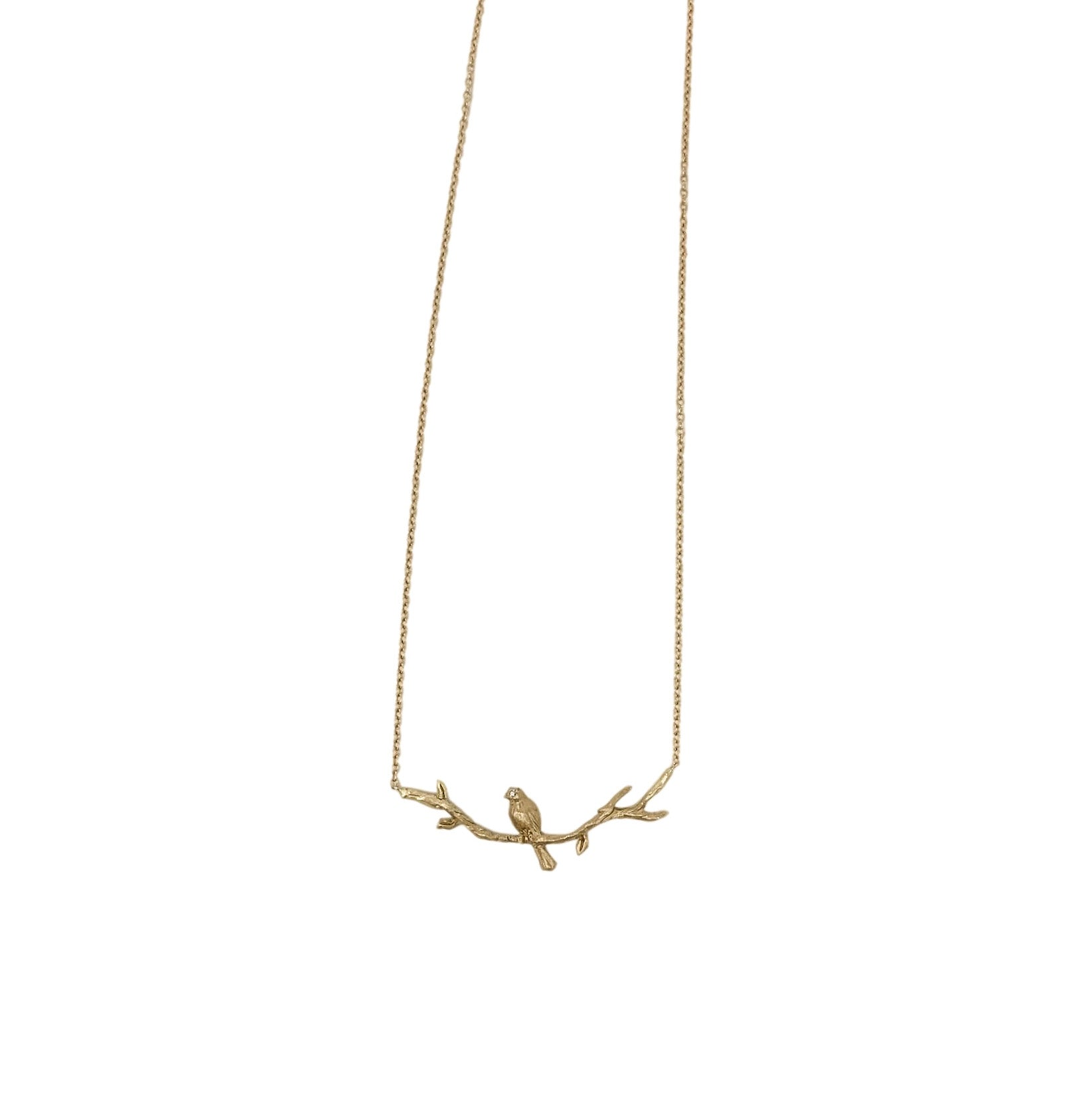 .Gold 14K Bird on Branch Necklace with Diamond