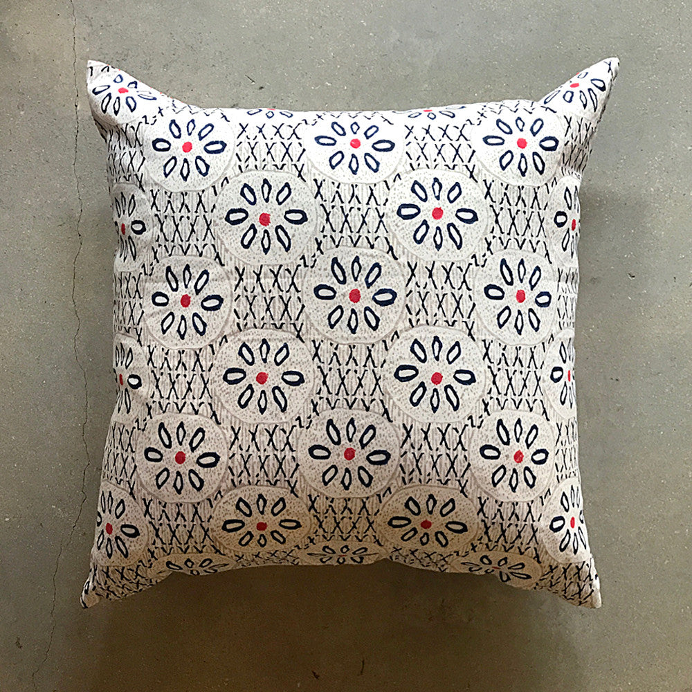 "Hand-block Printed Pillow - 20"" x 20"""