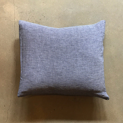 "Blue + White Stripe Linen Pillow - 20"" x 20"""