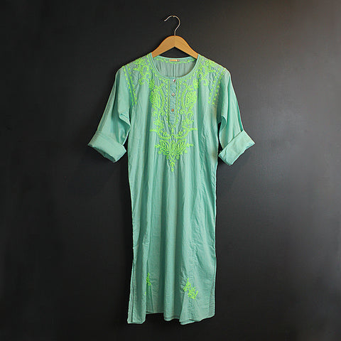 .Green Hand Embroidered Cotton Voile Dress