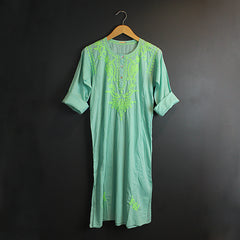 Green Hand Embroidered Cotton Voile Dress