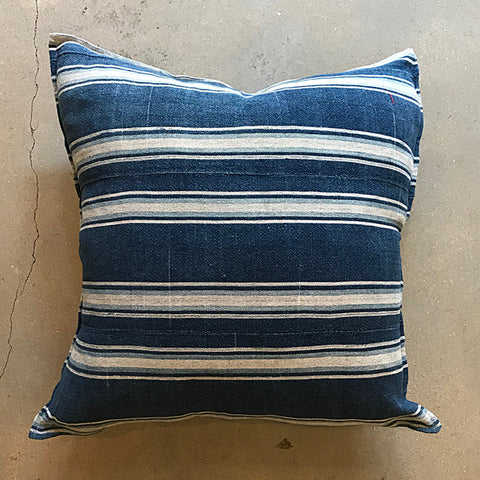 ".Blue African Mud Cloth Pillow - 20"" x 20"""