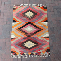 "Multi Colored Handwoven Turkish Rug - 3' 4"" x 4' 9"""