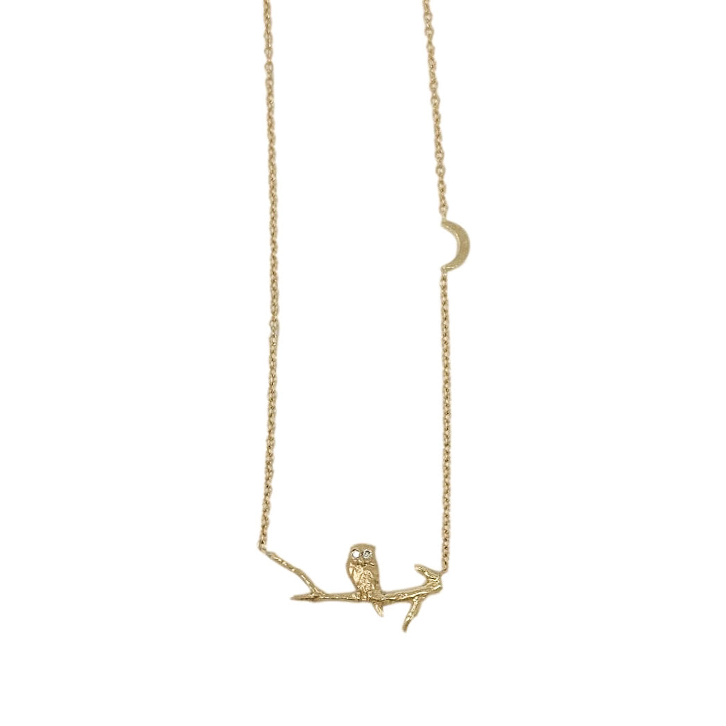 .Gold 14K Owl on Branch Necklace with Diamonds