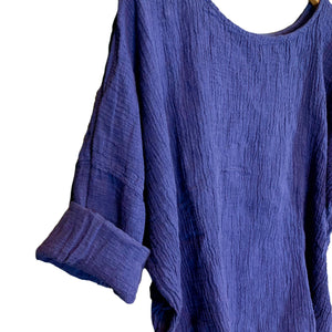 Blue Sibella Linen Top