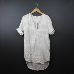 White Goldie V-Neck Linen Tunic Dress