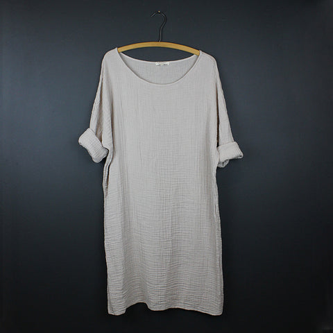 .Beige Cotton Dress