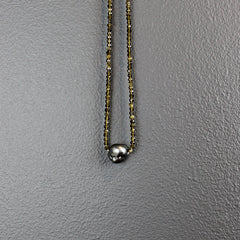 Cats Eye Stone Necklace with Tahitian Pearl